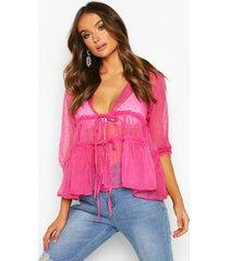 dobby spot ruffle waist blouse, berry