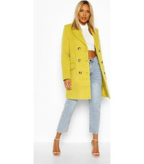 double breasted wool look coat, chartreuse