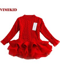thick warm girl dress christmas wedding party dresses knitted chiffon winter