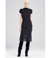 viscose satin skirt, women's, black, size 2, josie natori