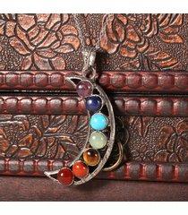 7 chakra collane gem stone beads moon ciondolo yoga reiki healing equilibrio collane per donna uomo