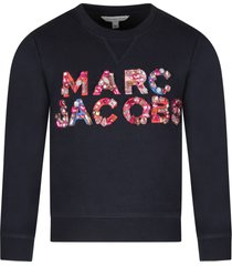 little marc jacobs blue girl sweatshirt with colorful logo