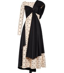 women's marine serre one-shoulder moon print drape jersey midi dress, size medium - black