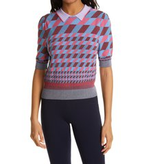 women's dvf jenny collared sweater, size medium - blue