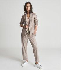 reiss blake - wool cotton blend slim fit blazer in mushroom, womens, size 14