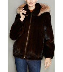 the fur vault mink fur hooded bomber jacket