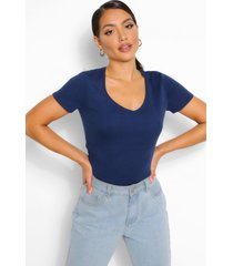 basic cotton v neck t-shirt, navy