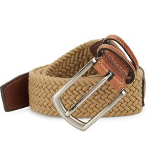 saks fifth avenue men's leather & textile belt - camel - size 42
