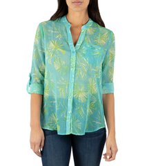 women's kut from the kloth jasmine top, size large - blue/green
