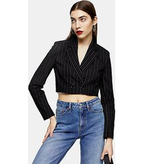 black stripe crop jacket - black