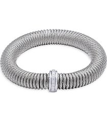 stainless steel, 18k white gold & diamond bracelet
