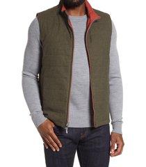 men's peter millar reversible stretch cotton flannel vest, size large - green