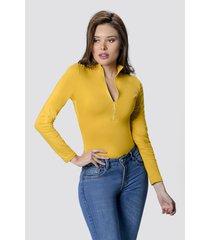 blusa body dama mostaza di bello jeans  classic blouse ref b241