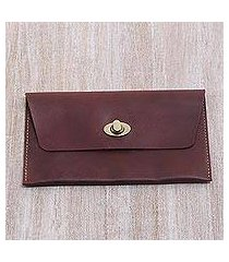 leather clutch wallet, 'mahogany amplop' (indonesia)