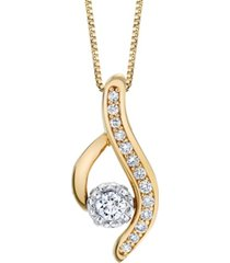 diamond (1/4 ct. t.w.) modern pendant in 14k yellow and white gold