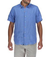 camisa lino hombre linenshort azul rockford