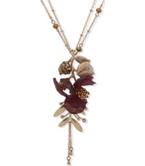 """lonna & lillly gold-tone crystal & imitation pearl flower double-chain long pendant necklace, 36"""" + 3"""" extender"""