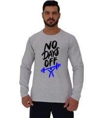 camiseta manga longa moletinho alto conceito sem dias de descanso mescla alvejado - branco/cinza - masculino - algodã£o - dafiti