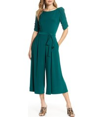 women's eliza j ruched sleeve jersey crop jumpsuit, size x-small - green