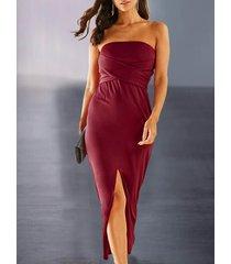 yoins burgundy crossed front knotted strapless slit hem dress