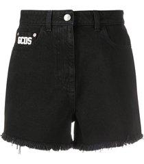 gcds fitted denim shorts - black