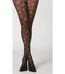 calzedonia bow pattern tulle tights woman black size 3/4