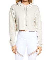 women's bella+canvas solid crop hoodie, size medium - beige
