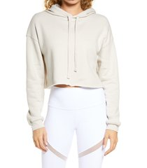 women's bella+canvas solid crop hoodie, size large - beige