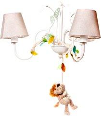 lustre 3l floresta leão quarto bebê infantil menina menino potinho de mel bege