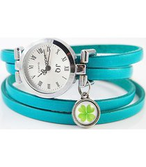 bransoletka, zegarek - koniczynka - niebieski