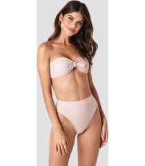 gerda x na-kd high waist comfy bikini bottom - pink