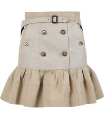khaki flared skirt