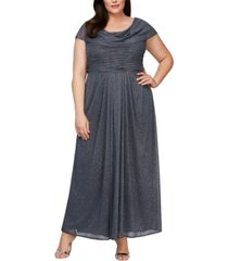 alex evenings plus size cowlneck glitter gown