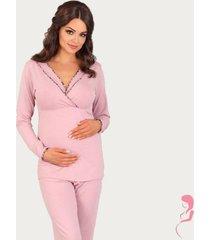 lupoline zwangerschapspyjama / voedingspyjama black and pink
