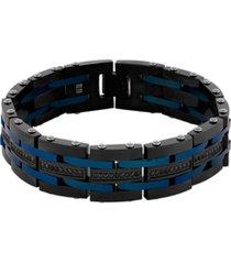 "men's 1 carat black diamond link 8 3/4"" bracelet in black and blue ip stainless steel"