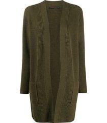 incentive! cashmere ribbed cashmere cardi-coat - green