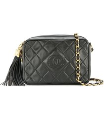 chanel pre-owned 1989-1991 quilted fringe chain shoulder bag - black