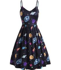 planet print side pocket plus size cami dress