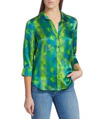 l'agence women's dani amazon silk blouse - amazon - size xs