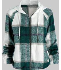 hooded plaid pattern wool blend jacket
