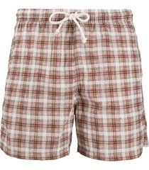 kiton plaid print swim shorts - brown