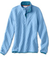 outdoor quilted snap sweatshirt, sea glass, x large