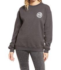 women's billabong flip crewneck graphic sweatshirt, size x-small - black