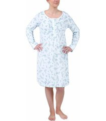 miss elaine short floral-print knit nightgown