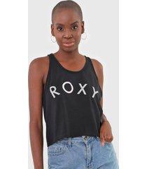 regata roxy shine preta - preto - feminino - dafiti