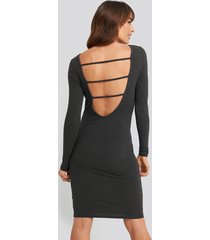 na-kd party open back ribbed mini dress - grey