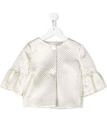 monnalisa textured flared sleeve jacket - gold