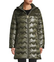 scallop-quilted down coat