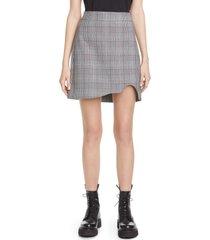women's ganni plaid suiting miniskirt, size 0 us / 32 eu - grey