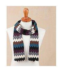 alpaca blend scarf, 'bold zigzags' (peru)